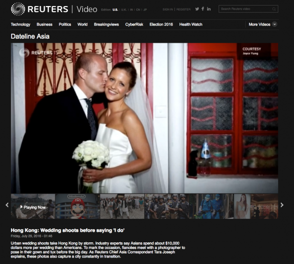 Joyce Yung on Thomas Reuters Video feature about Hong Kong engagement photography